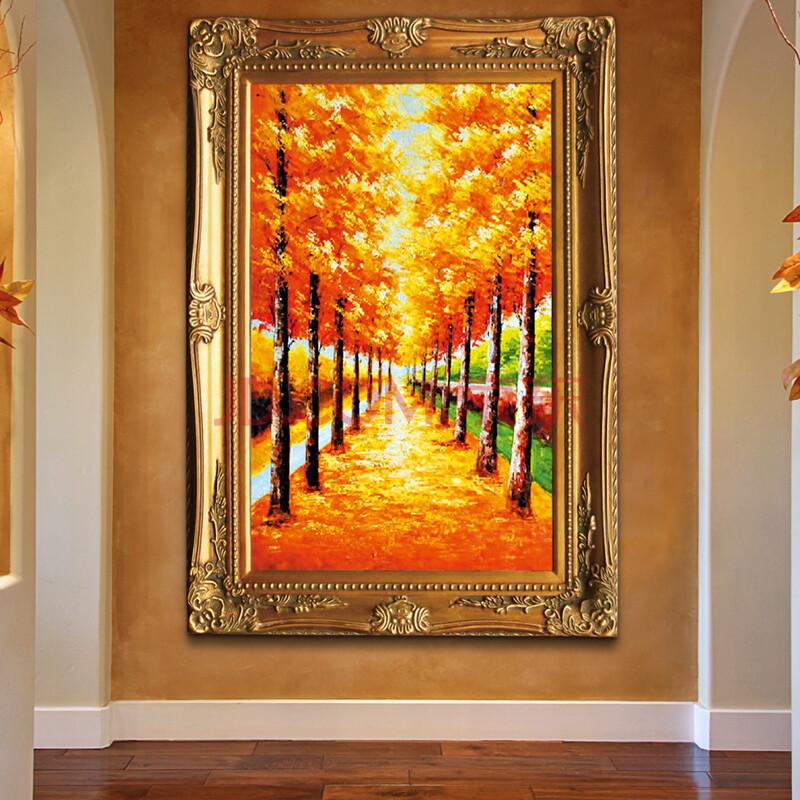 高档美式纯手绘油画客厅画走廊画装饰画黄金大道餐厅欧式壁画油画.