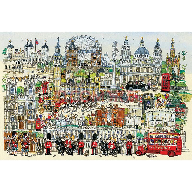 成人地图拼图玩具手绘动漫 灰姑娘 节日生日送礼 伦敦小镇1000片分区