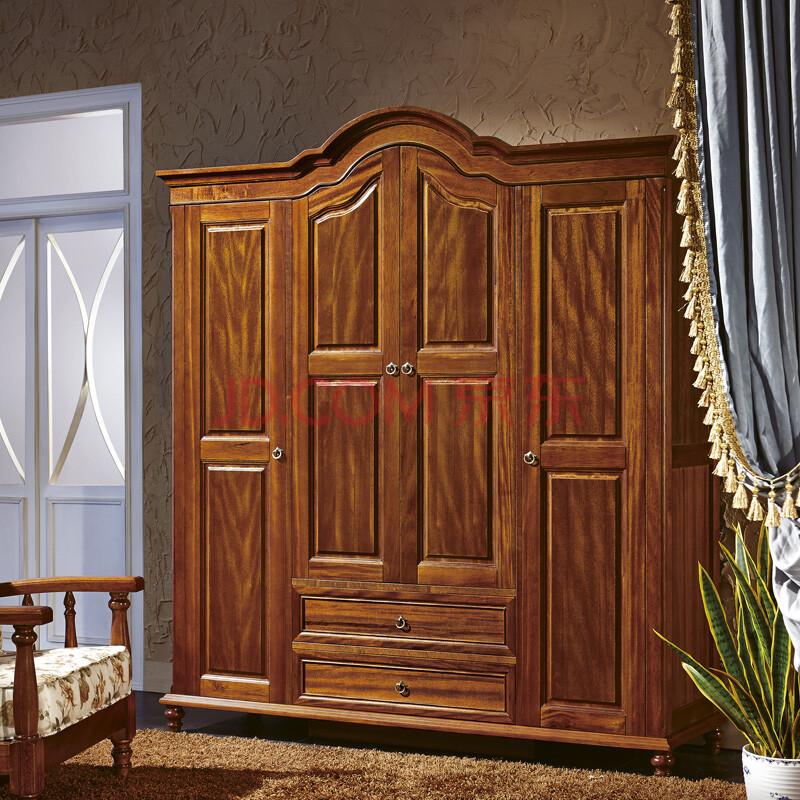 歌诗慕家具 美式实木衣柜卧室衣柜衣橱胡桃木大衣柜三