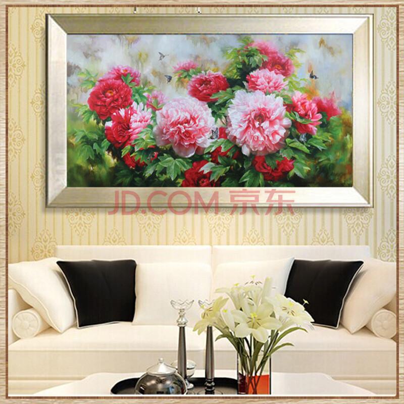 日康 花卉植物油画 纯手绘简约牡丹花装饰画 客厅卧室