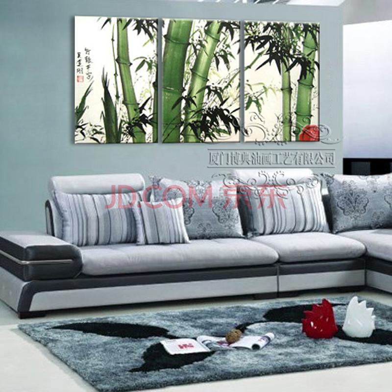 100%纯手绘油画 中式风格客厅装饰画沙发背景画手工画
