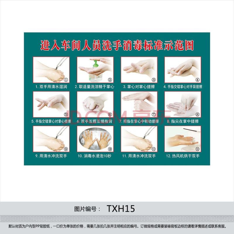 工厂标准洗手法 步骤 进入车间人员洗手消毒标准示范图 贴画txh15 户