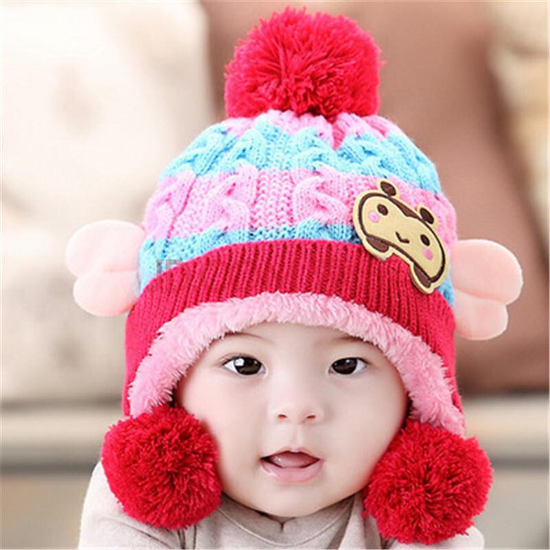 生日礼物 0-3岁小孩帽子男孩女孩 加绒卡通儿童毛线帽 可爱小蜜蜂翅膀
