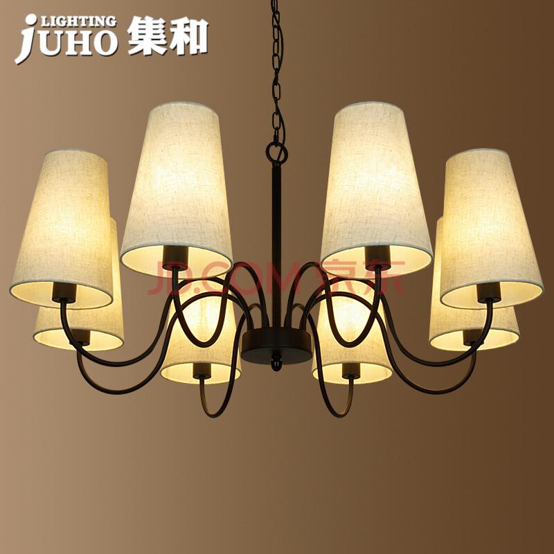 集和 铁艺美式乡村吊灯 简约现代餐厅灯卧室客厅灯具图片