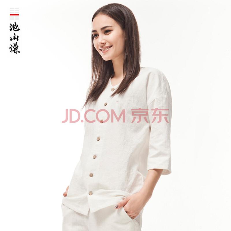 女式中袖衬衫_地山谦中国风棉麻圆领中袖衬衫女士中式禅意时尚复古潮上衣夏季 白色