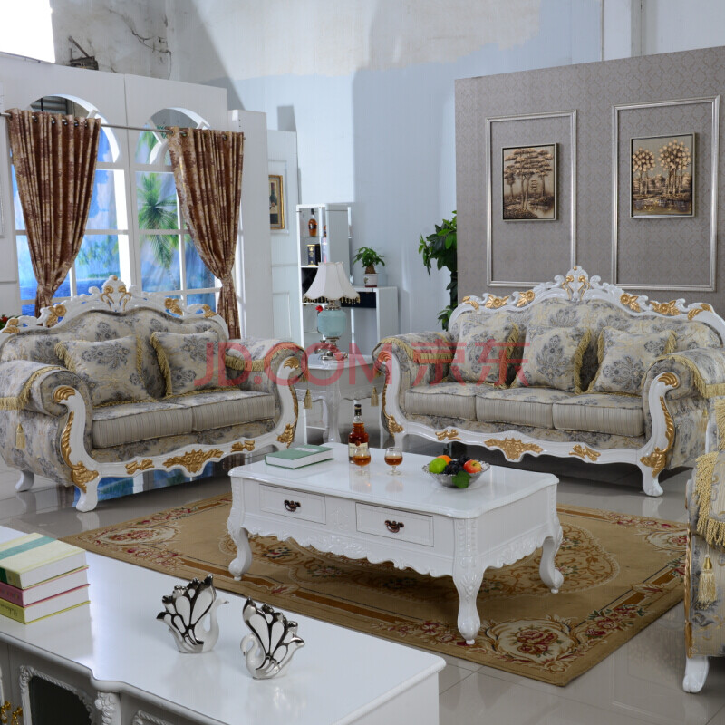 欧式沙发组合 简欧布艺沙发图片