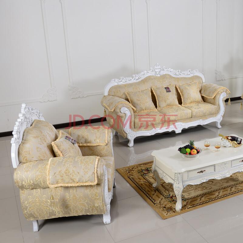 澳格 欧式布艺沙发 客厅高档沙发组合 田园沙发实木沙发 单人位图片