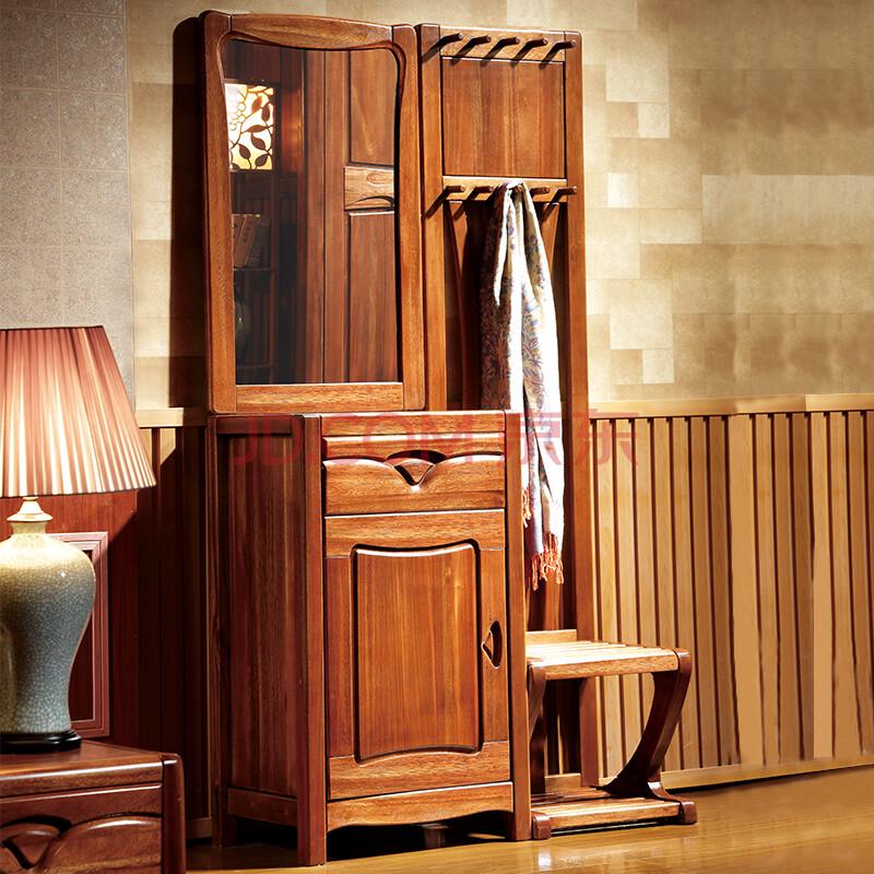 博都家具 实木梳妆台金丝檀木家具卧室衣帽架挂衣架多
