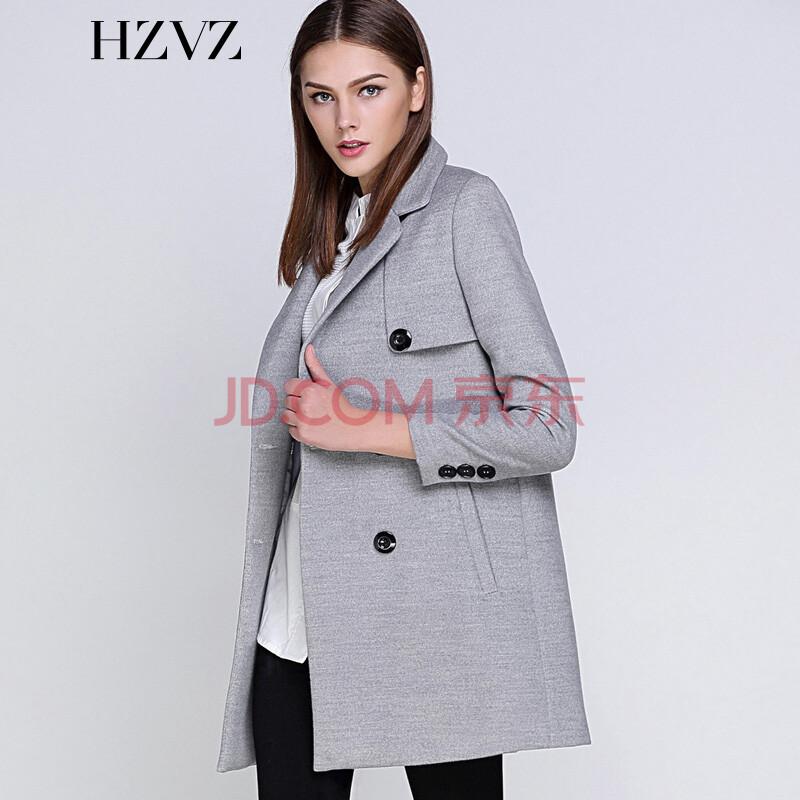 hzvz欧美简约2015秋季新款新品大码修身时尚个性双排扣中长款斗篷毛呢