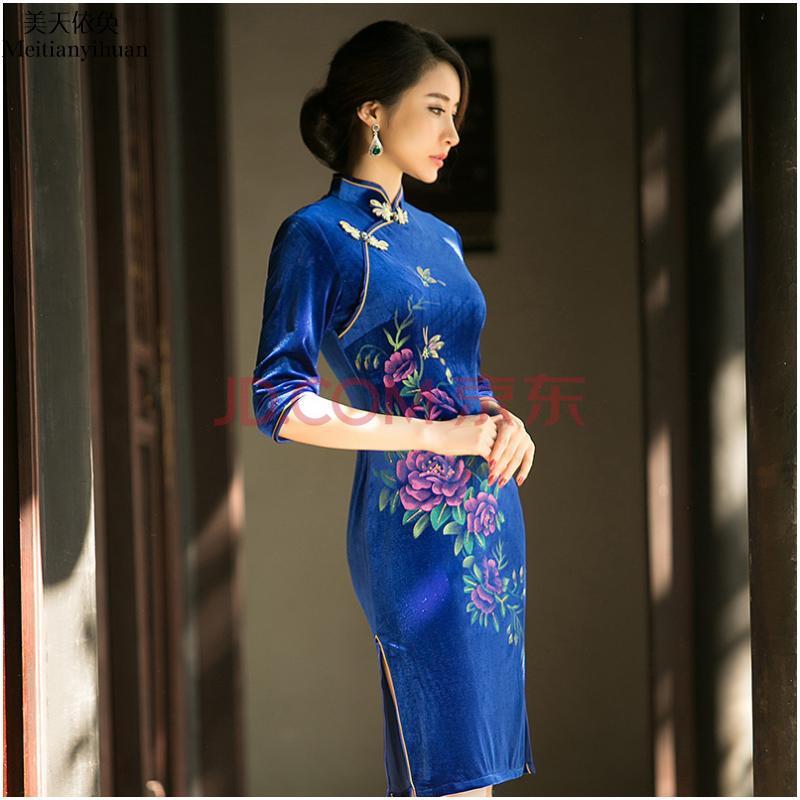 2015春季新款女装改良手绘中老年金丝绒中袖加大码旗袍礼服连衣裙fz