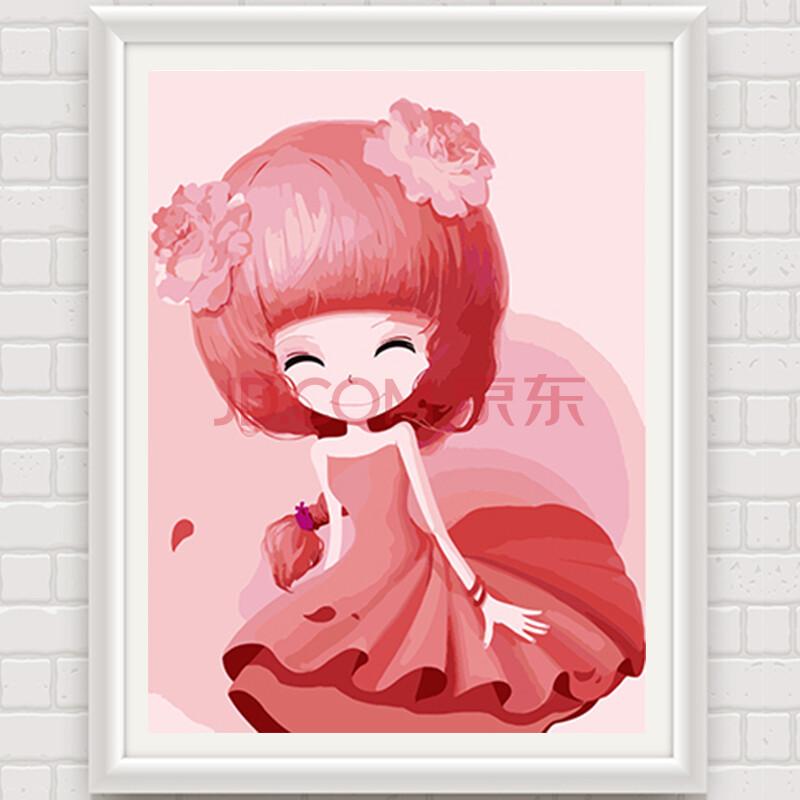 卡通动漫人物手绘装饰画少女花