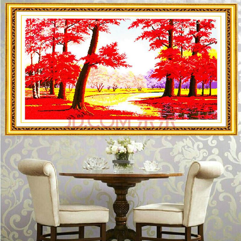 鸿运当头十字绣画新款客厅系列大幅聚宝盆鸿运当头全景十字绣枫叶2米3图片
