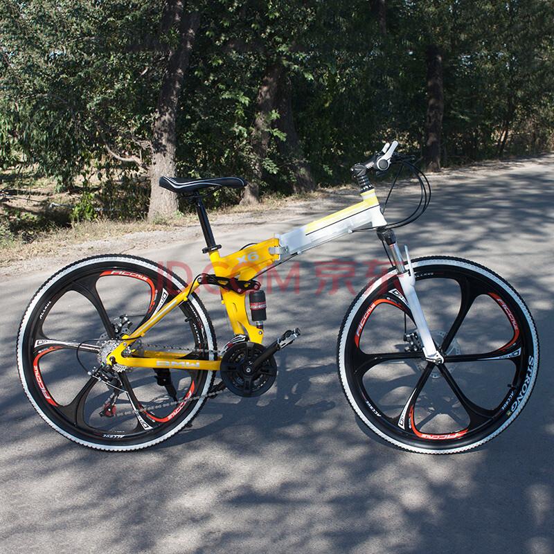 路虎宝马山地自行车26寸铝合金可折叠变速山地车单车一体轮公路变速