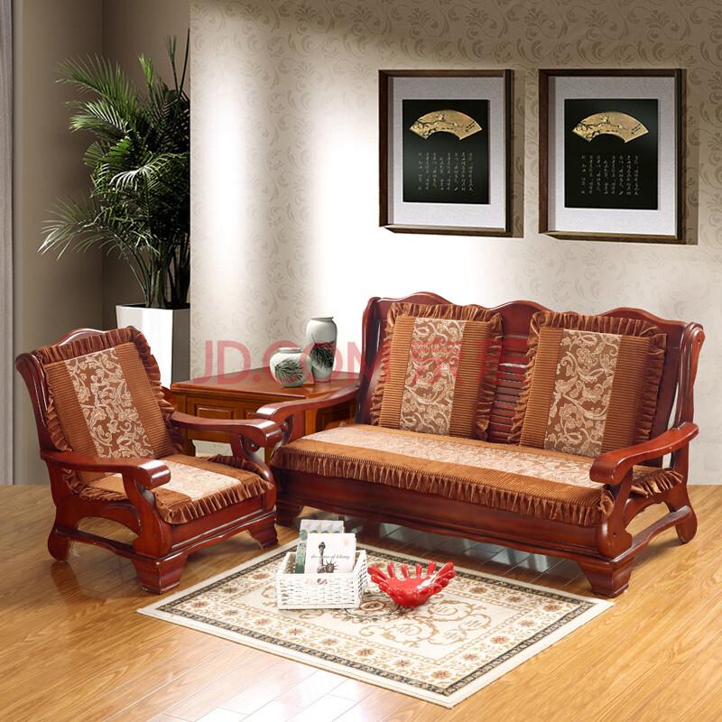 八度空间家居 烫花双拼实木红木沙发单坐垫 四季花边款防滑沙发座垫