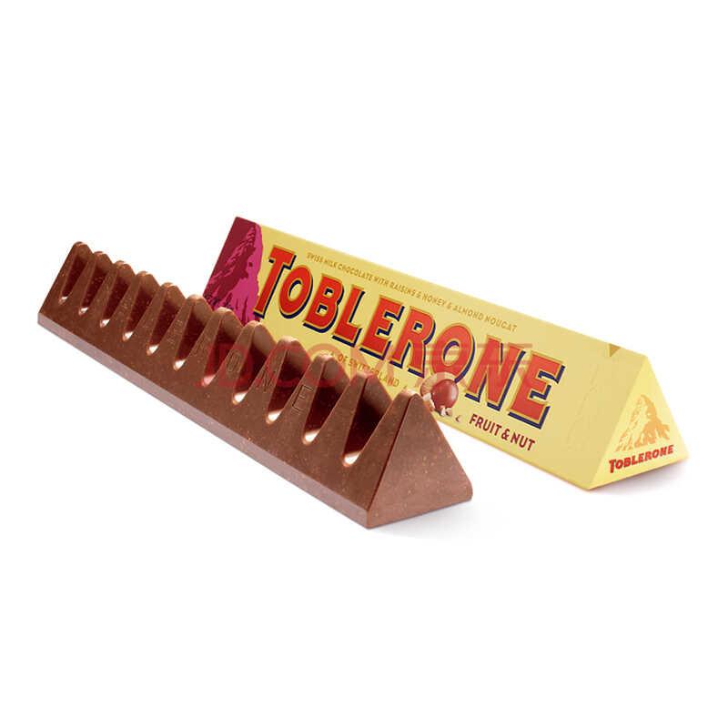 瑞士进口SwissToblerone瑞士三角牛奶巧克力含葡萄干及蜂蜜巴旦木糖100g)