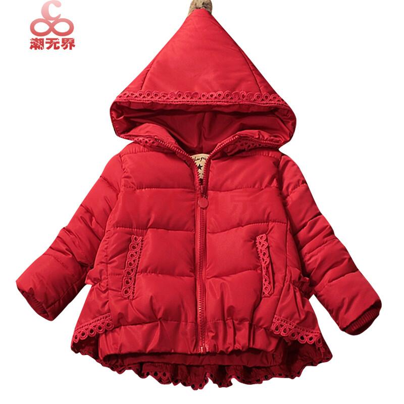2015冬季韩版女童小宝宝甜美公主蕾丝花边加厚保暖棉袄短外套 红色