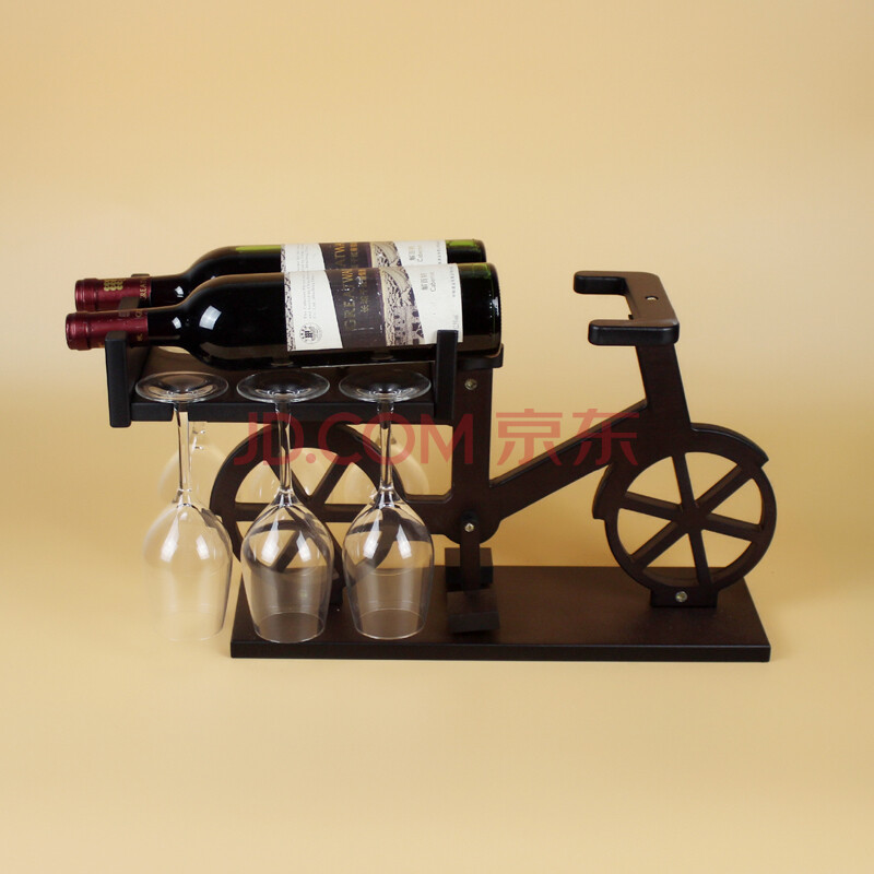 欧式创意红酒架 实木酒架 木制葡萄酒架子结婚家居摆件 自行车无杯子.