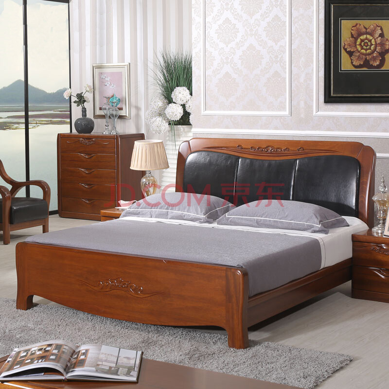 全实木床双人1.8米床海棠木床中式实木床海棠木家具婚