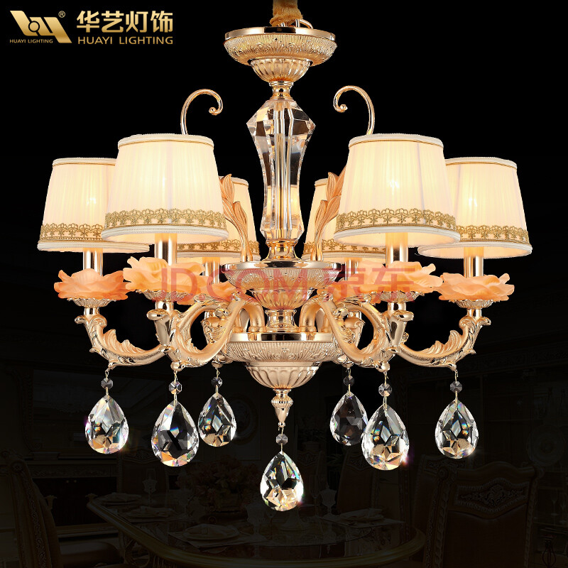 华艺灯饰 艺术水晶吊灯 欧式客厅吊灯餐厅锌合金灯具