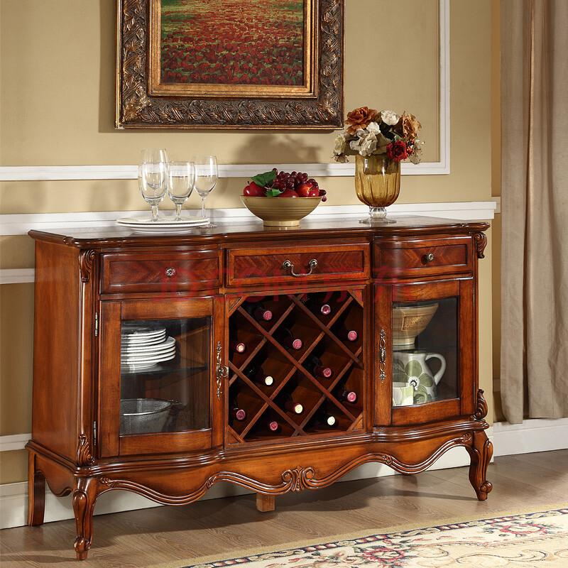 斯洛梵 美式实木餐边柜欧式餐边柜 复古碗碟柜储物柜走廊柜图片