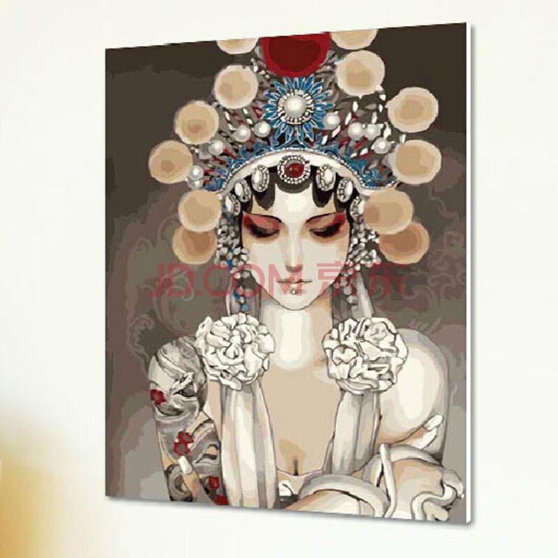 手绘京剧女性人物装饰画