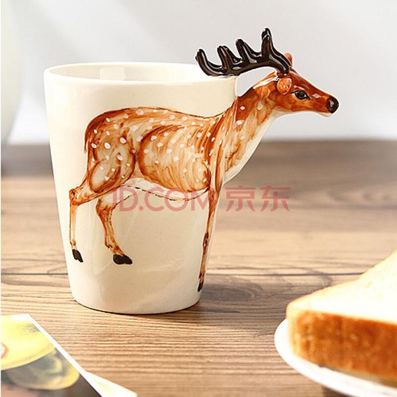3d立体纯手绘动物杯 梅花鹿款