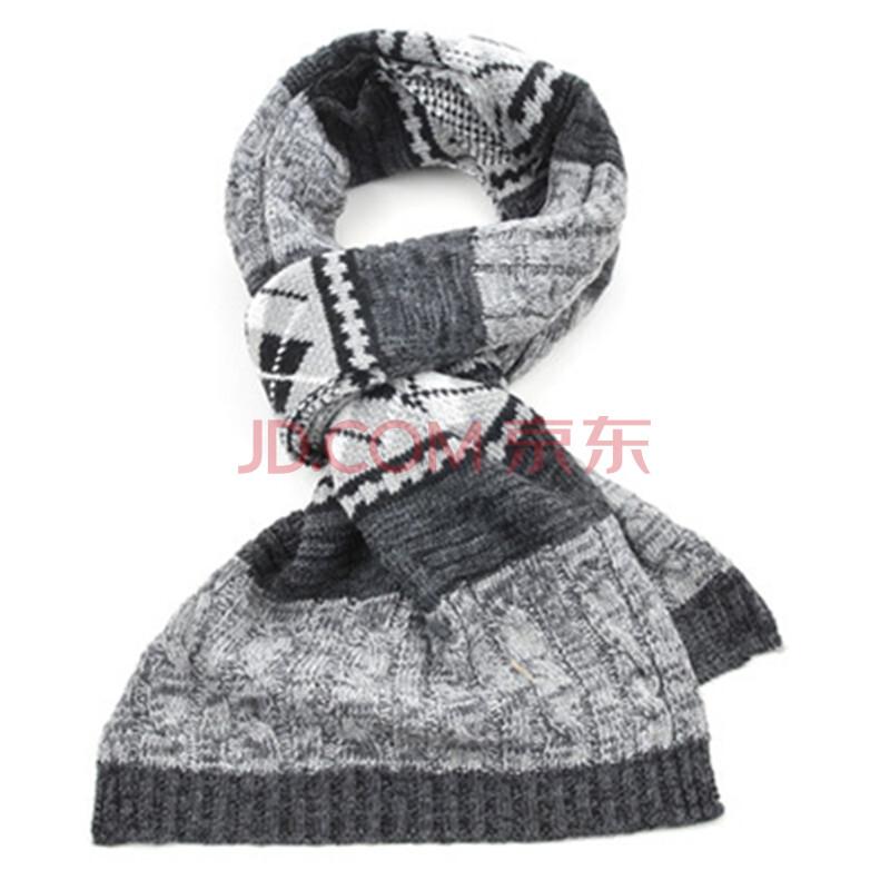 秋冬中老年男士长款商务围脖冬天保暖爸爸围巾老人羊毛线围巾加厚