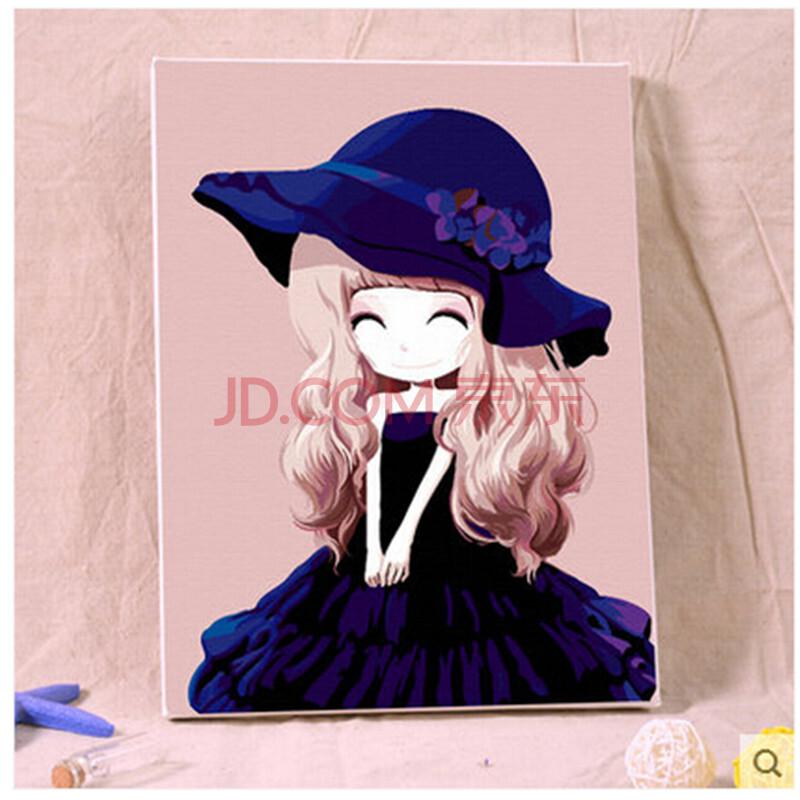 手绘画 数字油画 客厅卧室大幅人物手绘装饰画 花姑娘系列 紫罗兰姑娘
