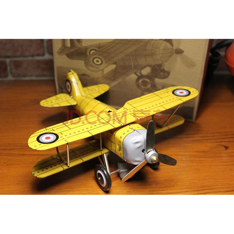 创意手工发条铁皮玩具 怀旧收藏品 童年回忆黄色寇蒂斯飞机生礼品