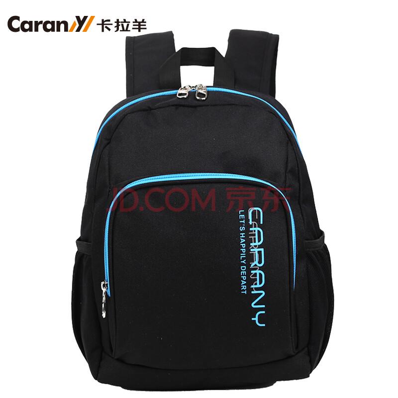 卡拉羊双肩包男女韩版双肩背包运动背包学生休闲背包cx5697 黑色图片