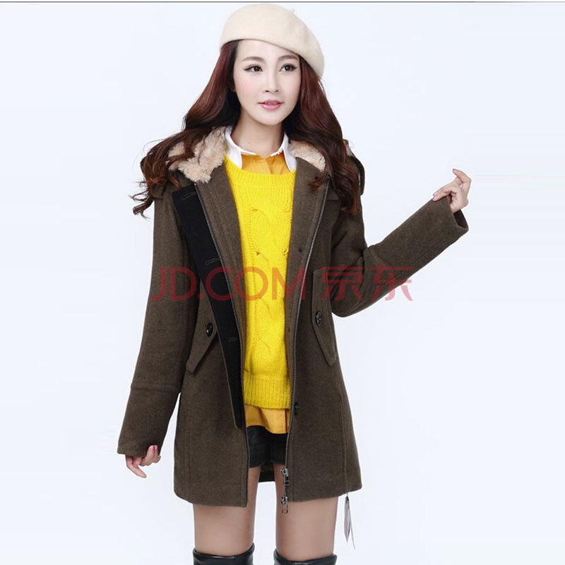 阿玛施款2015秋冬新款羊毛呢大衣韩版中长款连帽大口袋毛呢外套女 军图片