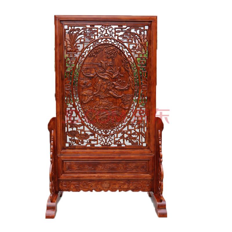 温馨里 东阳木雕屏风 花开富贵落地屏 客厅摆件实木插屏中式 乔迁礼物