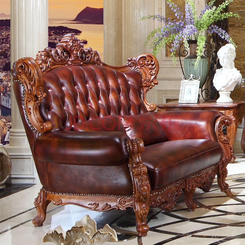 羽居 欧式红木沙发 缅甸花梨木 大果紫檀 单人双人四人位沙发 手工