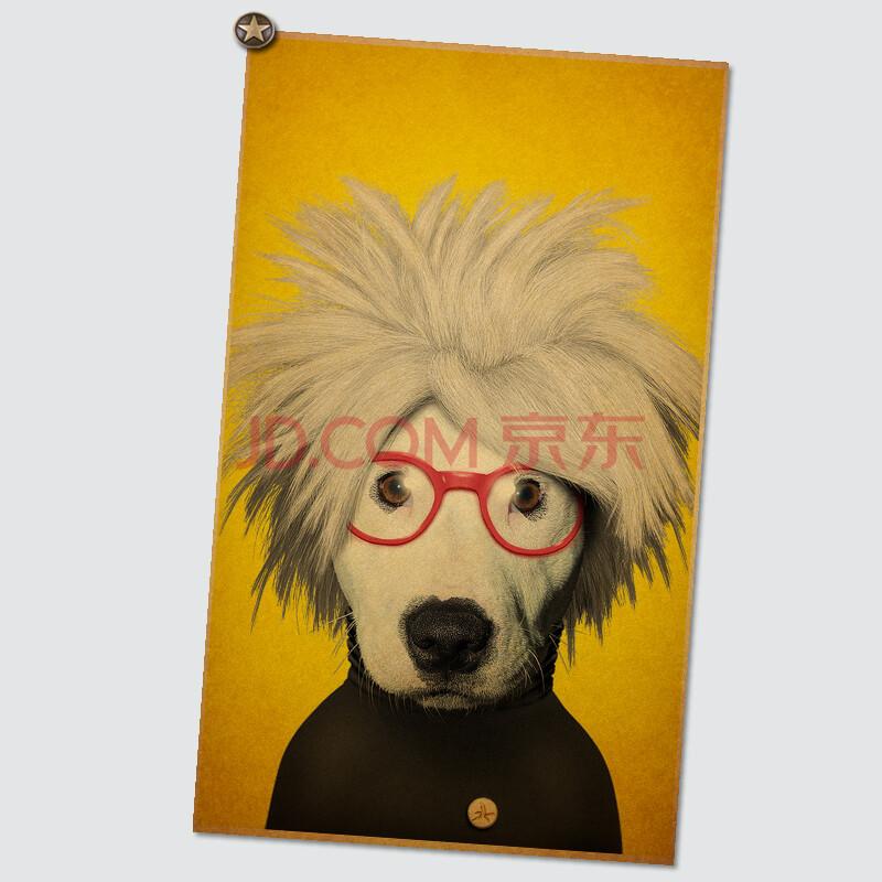 宠物明星人物头像复古海报牛皮纸海报装饰画酒吧咖啡馆装饰画 nb451