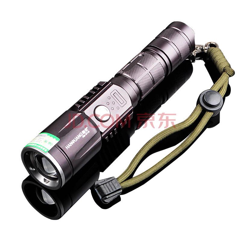 变焦远射王锂电池充电led户外照明家用防身usb接口多图片