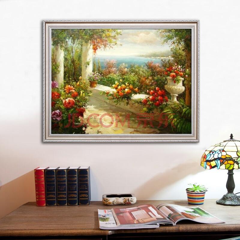 沙发墙画客厅装饰画地中海风景油画 纯手绘欧式餐厅卧室挂画 定制 7