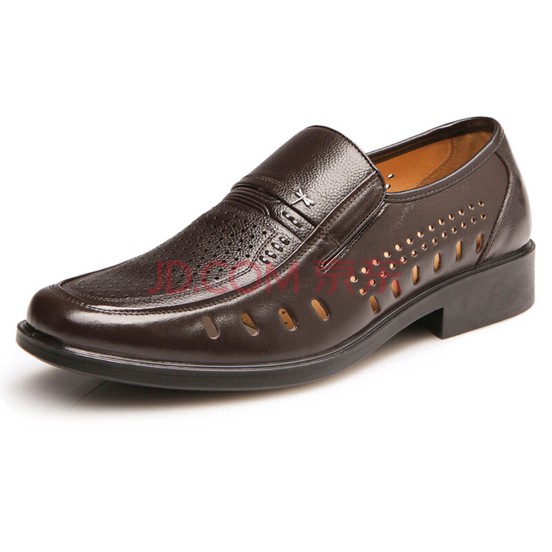 红蜻蜓 RED DRAGONFLY夏季休闲透气男鞋男皮鞋棕色42 WTL57271/72
