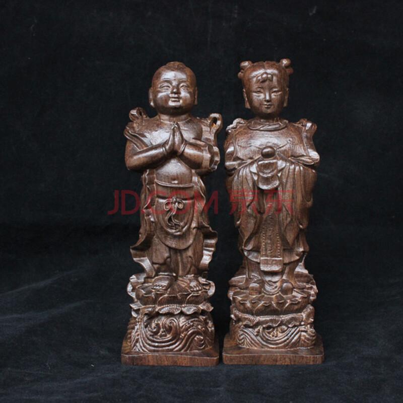 顺通礼坊 沉香木 木雕家居 摆件 金童玉女木质 木头工艺品 家居礼品