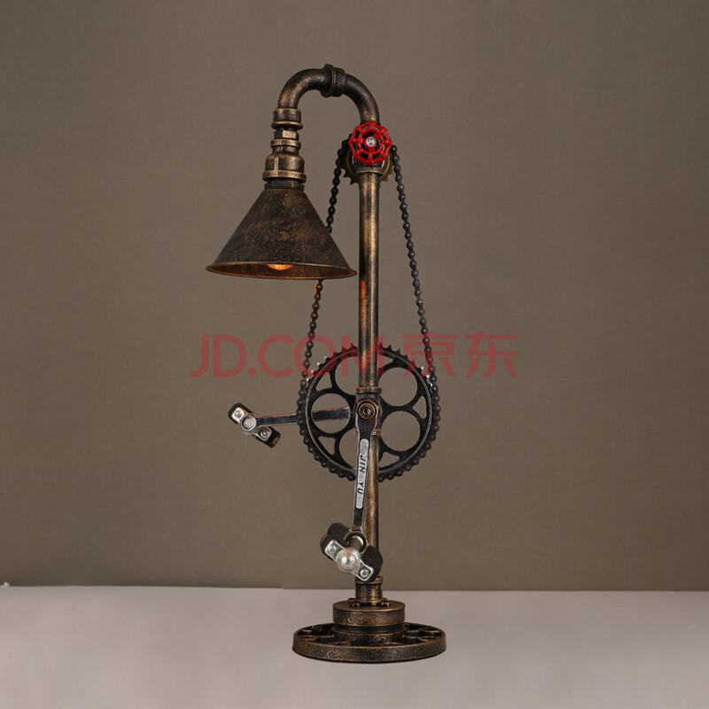 太沃 创意工业酒吧台灯办公室loft水管 铁艺书房台灯个性卧室台灯 b款