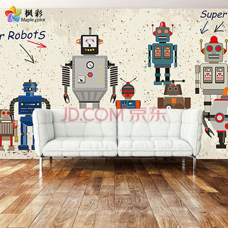 枫彩手绘卡通儿童房壁纸机器人男孩卧室床头背景墙壁画沙发客厅餐厅