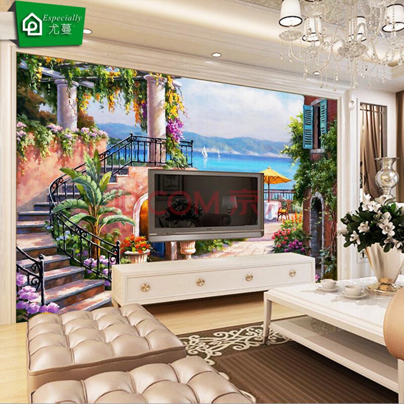 尤蔓3d背景墙墙布壁画延伸壁纸壁布欧式简约油画客厅电视背景墙沙发图片