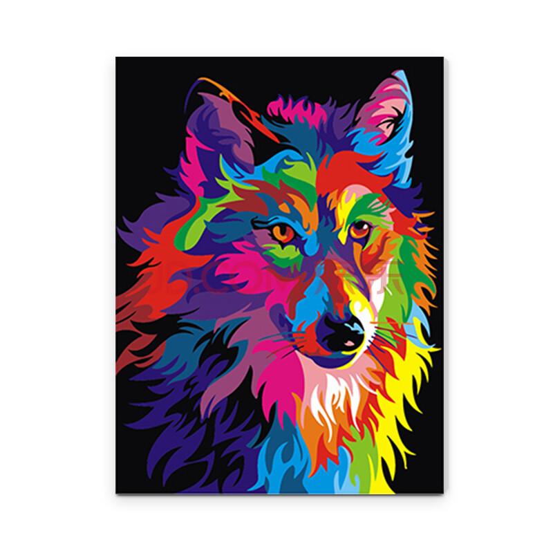 diy数字油画 风景动物手绘装饰画手工填色画 彩绘动物 ex5252狼 40*50