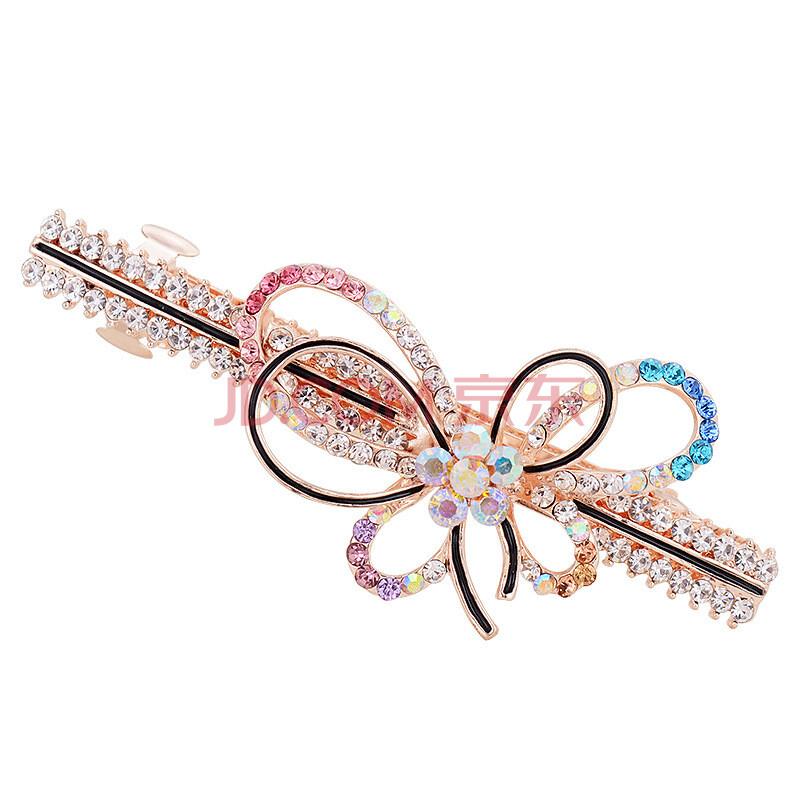 韩版时尚蝴蝶造型发夹女生百搭头饰发饰 七彩色