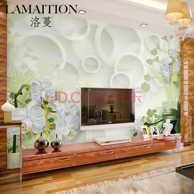 洛蔓 客厅沙发卧室电视背景墙壁画墙纸墙布定制 无缝整张环保3d圆圈简图片