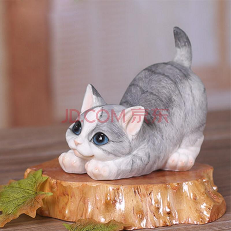 仿真猫咪家居装饰品摆饰礼物树脂动物工艺品摆设可爱