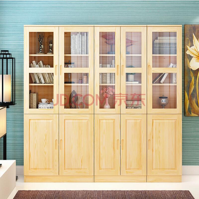 万源合 书柜书架实木玻璃门窗清漆松木组合储物柜子 清漆abc款玻璃门