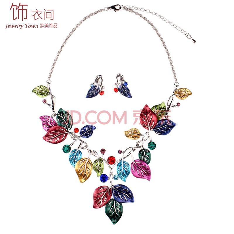 手绘风格超艺术流行彩色树叶造型 欧美风经典时尚女士短颈锁骨项链