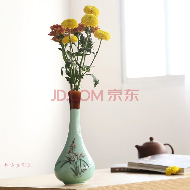 创意时尚陶瓷花瓶落地客厅 陶瓷手绘花器花瓶现代简约摆设摆件 小号款