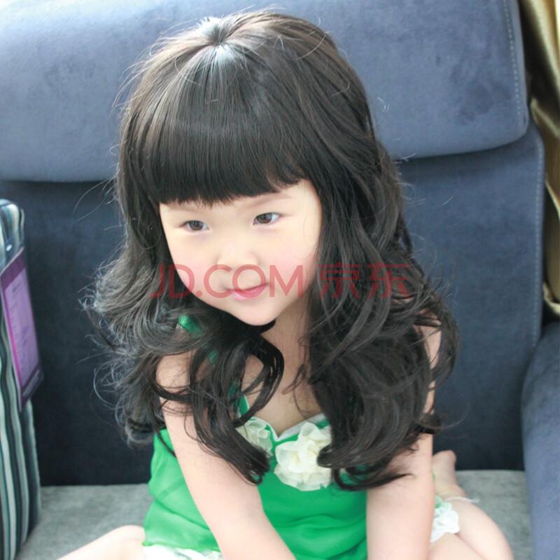 小苏妞假发 可爱长发齐刘海时尚儿童卷发长卷发 齐刘海长卷发假发