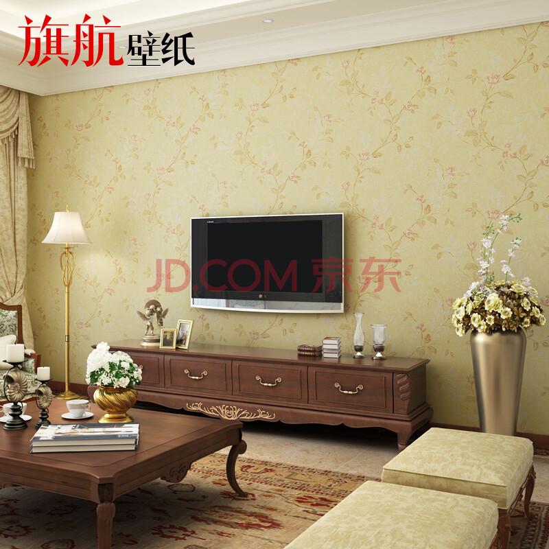 旗航壁纸 美式田园 电视背景无纺布墙纸 客厅卧室满铺图片